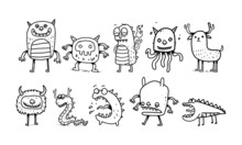 Set Of Doodle Monsters For Children's Fantasy Creations