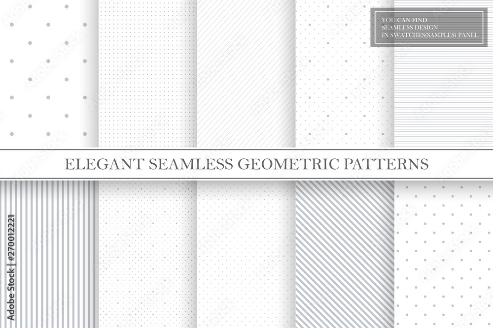 Fototapety, obrazy: Collection of geometric simple seamless vector patterns - gray dotted and striped textures.