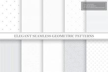 Collection Of Geometric Simple Seamless Vector Patterns - Gray Dotted And Striped Textures.