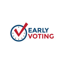 Early Voting Icon With Vote, Icon, And Patriotic Symbolism And Colors