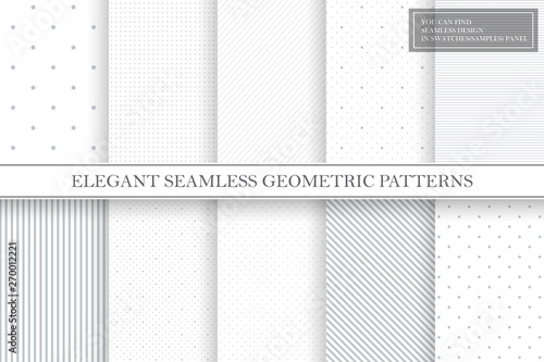 Obraz Collection of geometric simple seamless vector patterns - gray dotted and striped textures. - fototapety do salonu