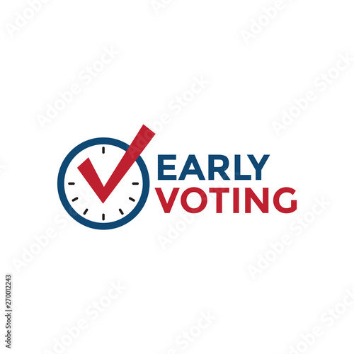 Fototapeta Early Voting Icon with Vote, Icon, and Patriotic Symbolism and Colors