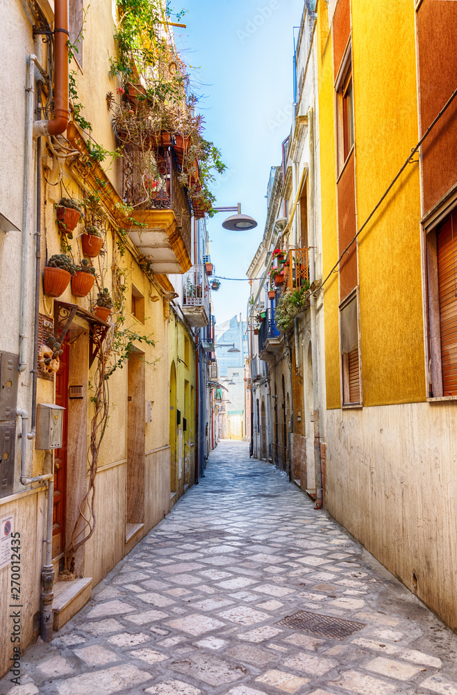 street  in old center of Brindisi, region Puglia, Italy