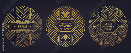 Fotografía  Vector set of art deco frames, edges, abstract geometric design templates for luxury products