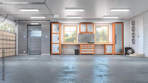 Fotografía Garage with rolling gate interior. 3d illustration