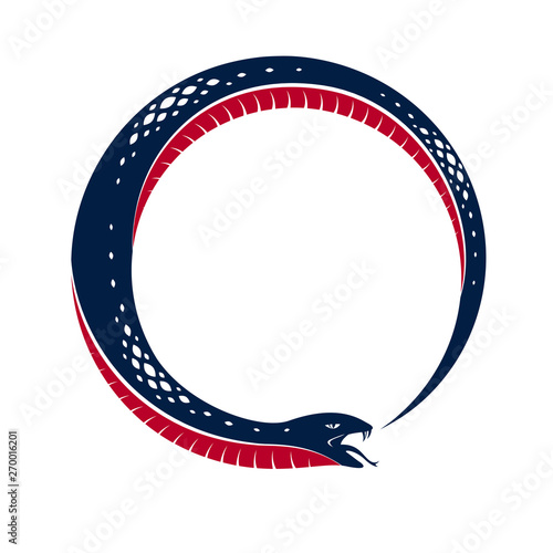 Fototapeta Snake eating its own tale, Uroboros Snake in a shape of circle, endless cycle of life and death, Ouroboros ancient symbol vector illustration logo, emblem or tattoo