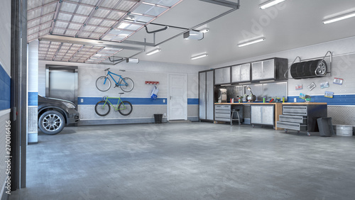 Fototapeta Garage with rolling gate interior. 3d illustration