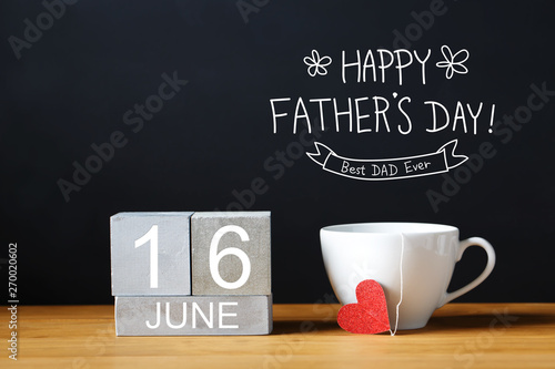 Poster Countryside Fathers Day message with coffee cup with wooden blocks