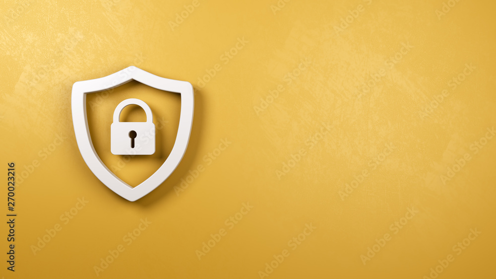 Fototapety, obrazy: Shield Symbol Shape with Padlock on Yellow Plastered Wall