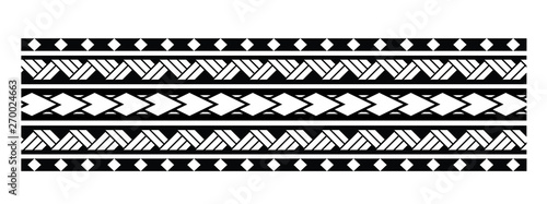 Türaufkleber Künstlich Tattoo tribal maori pattern bracelet, polynesian ornamental border design seamless vector