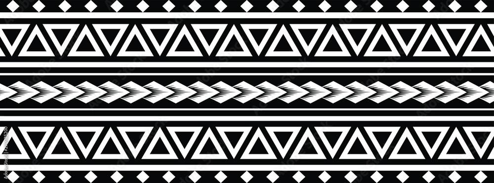 Fototapeta Polynesian Maori Tattoo tribal pattern bracelet, polynesian ornamental  border design seamless vector