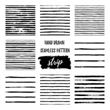 Set Black And White Hand Draw Vector Seamless Patterns Stripe Line.