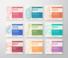 Premium Quality Seafood Labels Set. Abstract Vector Packaging Design. Modern Typography And Hand Drawn Crab, Shrimp, Molluscs And Squid Sketch Silhouettes Background Layouts With Soft Shadows.