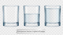 Transparent Vector Glass Of Water On Light Background