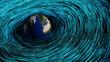 Erde wird von Datenströmen umflossen