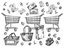 Supermarket Shopping Groceries Objects