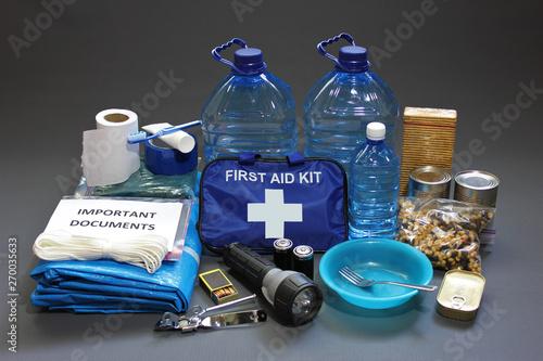 Fotografía  Disaster preparedness items