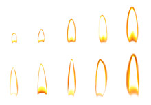 Set Of Different Bright Candle Flames On White Background
