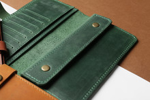 Open Leather Wallet On Color B...