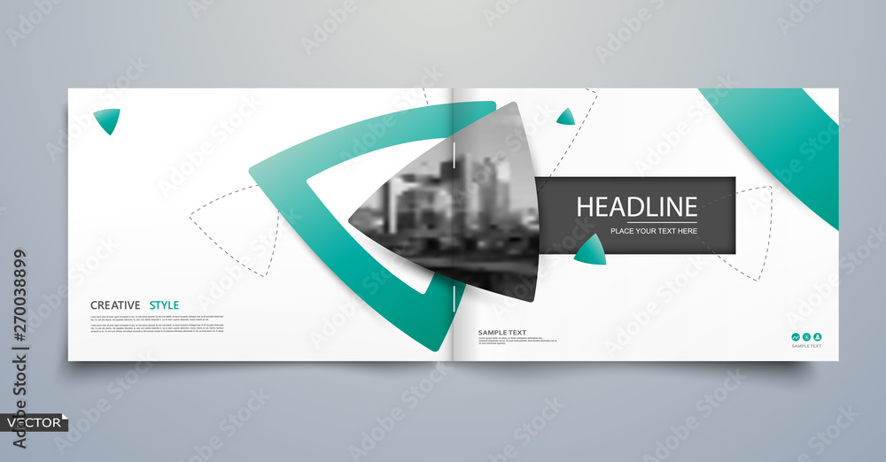 Fototapeta Abstract blurb theme. White brochure cover design. Info banner frame. Fancy ad flyer text font. Title sheet fiber model. Hi tech vector front page. Urban city view texture. Green triangle figure icon