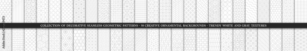 Fototapeta Collection of seamless ornamental vector patterns and swatches. White and grey geometric oriental backgrounds.