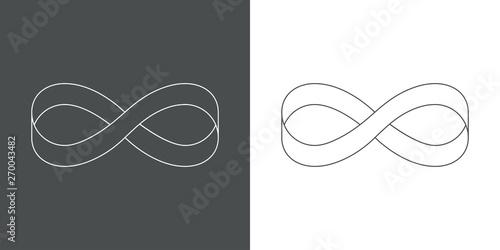 Icono plano lineal infinito con cinta en gris y blanco Canvas Print