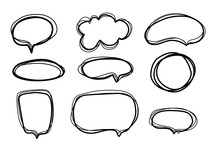 Speech Bubble Set In Sketch Style On White Background. Different Shapes Dialog Cloud. Sign Banner. Line Design. Bubble Talk.