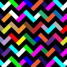 Background With Black And Multicolors Seamless Zigzags