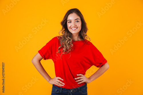 Fotografie, Obraz  Portrait of a lovely cheerful young woman standing