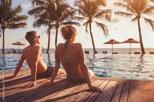 romantic getaway holidays for couple, beach honeymoon in luxury hotel Canvas Print