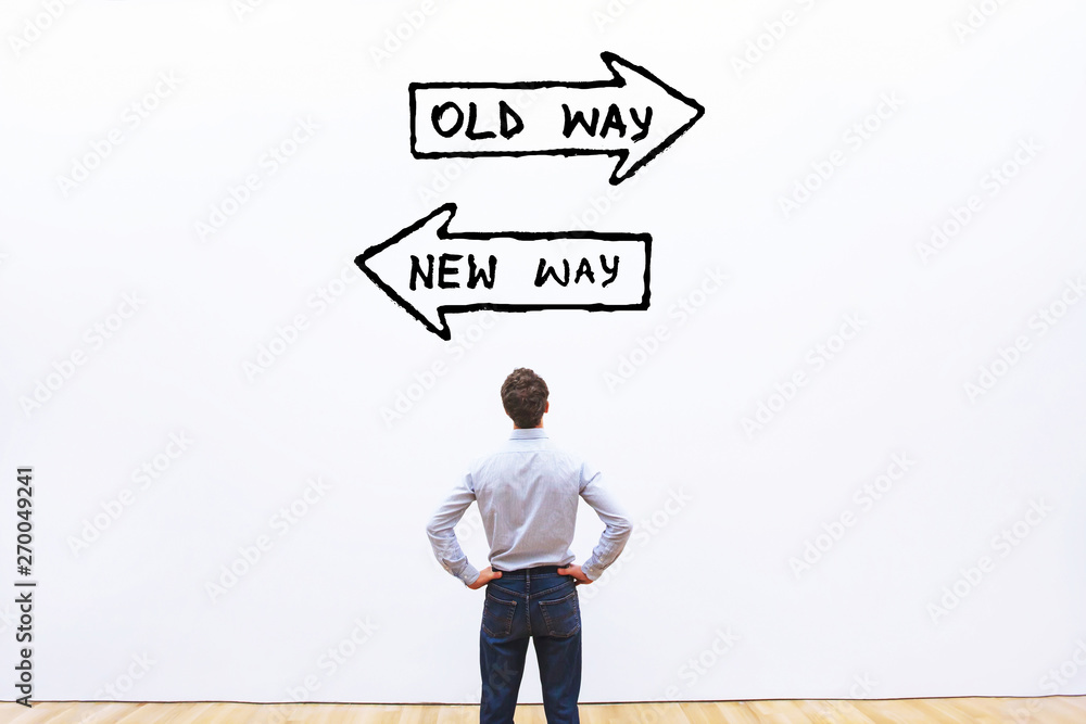 Fototapeta old way vs new way, improvement and change management business concept