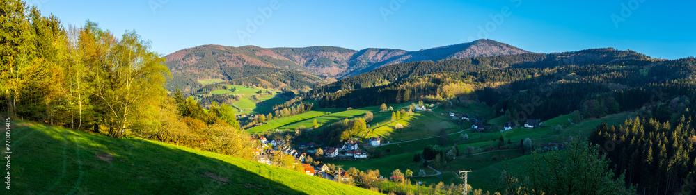 Fototapety, obrazy: Germany, XXL panorama scenic view of black forest nature landscape and village in valley