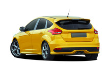 Yelow Sports Hatchback On Whit...