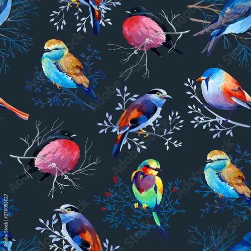 gouahe-bezszwowy-wzor-z-jaskrawymi-ptakami-na-galaz-na-ciemnym-tle