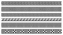 Vector Set Of 6 Greek Style Geometric Seamless Frames Isolated On White Background