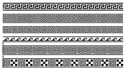 Cuadros en Lienzo Vector set of 6 greek style geometric seamless frames isolated on white backgrou