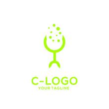 Letter C Logo On Isolated Back...