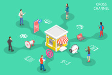 Isometric Flat Vector Concept Of Cross Channel, Omnichannel, Several Communication Channels Between Seller And Customer, Digital Marketing, Online Shopping.