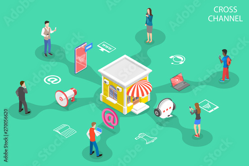 Valokuvatapetti Isometric flat vector concept of cross channel, omnichannel, several communication channels between seller and customer, digital marketing, online shopping