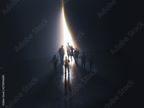 Obraz group of people at the door leading to the light - fototapety do salonu