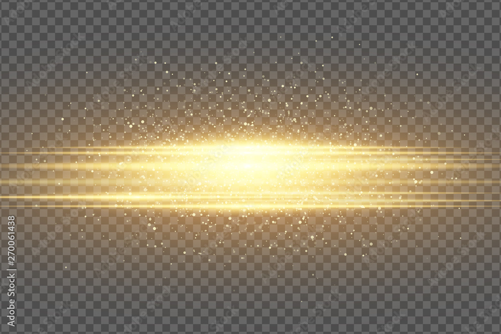 Fototapeta Abstract stylish light effect on a transparent background. Golden flash. Luminous flying dust. Chaotic glowing neon gold stripes. Shimmering particles flying. Vector illustration