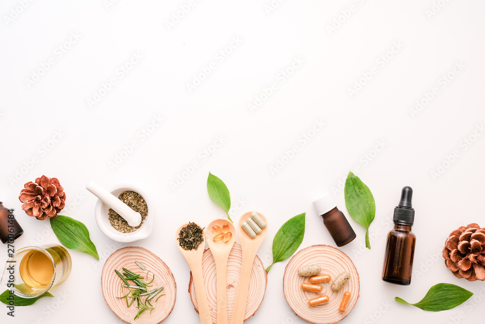 Fototapety, obrazy: cbd and herb oil for therapy  or treatment as alternative medicine .essential  fragrance aromatherapy . natural organic herbal product for health and wellness.