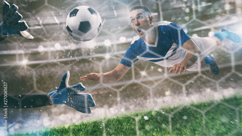 Goalkeeper catches the ball in the stadium during a football game Canvas Print