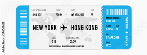 Fotografía  Realistic airline ticket design with passenger name