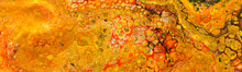 Photography Of Abstract Marbleized Effect Background. Red And Orange Creative Colors. Banner