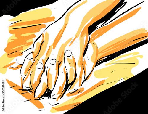 Obraz croquis gros plan main femme sur main homme couple amour sensualité - fototapety do salonu