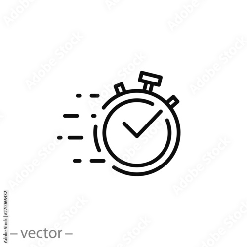 Fotomural  quick time icon, fast deadline, rapid line symbol on white background - editable