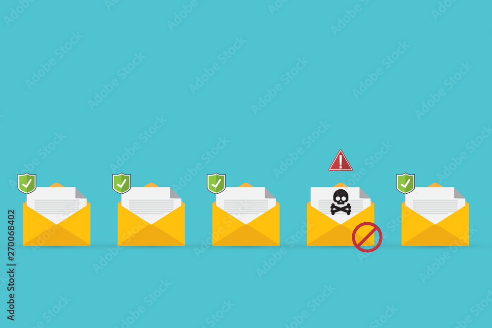 Fototapeta Email / envelope with black document and skull icon. Virus, malware, email fraud, e-mail spam, phishing scam, hacker attack concept. Vector illustration