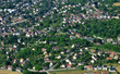 Leinwanddruck Bild Juziers, France - july 7 2017 : aerial picture of the town