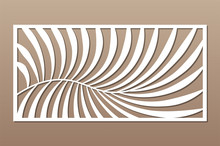 Decorative Card For Cutting. Fern Palm Pattern. Laser Cut Panel. Ratio 1:2. Vector Illustration.